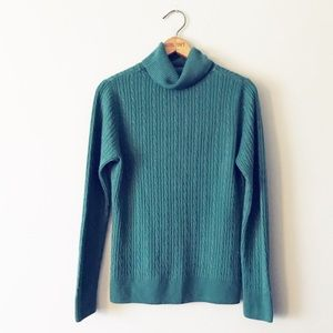 Croft & Barrow Teal Cable Knit Turtleneck Sweater